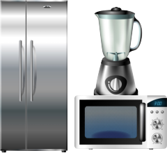 portrait of refrigerator, mixer and oven